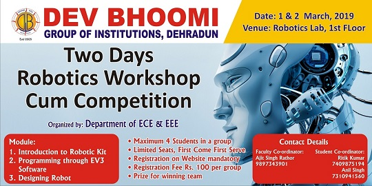 2 days Robotics Workshop cum Competition by Department of Electronics and Electrical Engineering