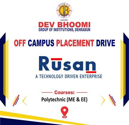 Off Campus Drive of Rusan Pharma Ltd | | Dev Bhoomi Group of