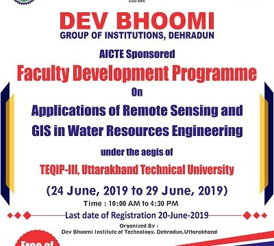 Faculty Development Programme on Applications of Remote Sensing  and GIS in Water Resources Engineering.