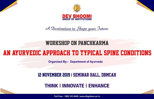 Workshop  on Panchkarma – An Ayurvedic Approach To Typical Spine Conditions by Department of Ayurveda